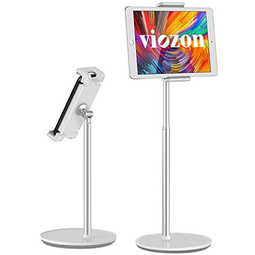 "viozonタブレットスタンド ホルダー、高さ 360度角度調整可能 アルミニウム デスクトップ スタンド、4.5-13""スマホとタブレットに適用 iPhone iPad Pro Air Mini、Samsung、Nexus、Tab、Kindle、E-Reader(AP-4HS)"