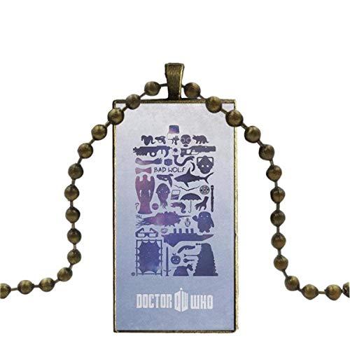SYSFOUR para Mujeres Regalos niño cabujón de Cristal de Color Bronce con Colgante en Forma de rectángulo Collar de Gargantilla Soy Doctor Who Tardis
