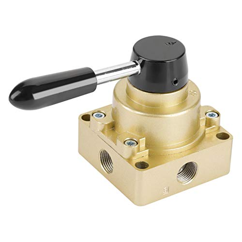 HV-03 G3/8 3 posiciones 4 vías Control de flujo de aire neumático Válvula de palanca manual giratoria para aire, agua, lodo, metales líquidos