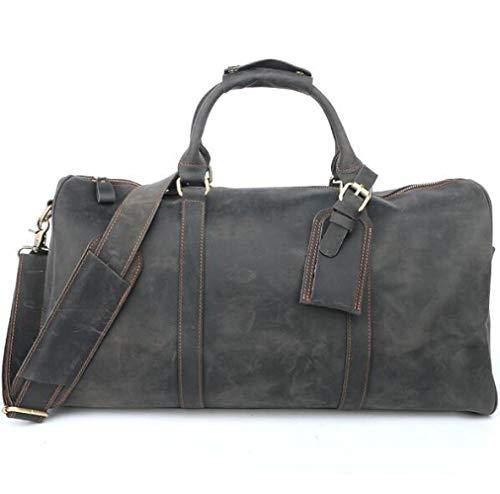 Y&MoD Sac De Voyage en Cuir pour Homme - Weekend Bag Sac De Voyage Carry on Luggage - 50x21x26cm Marron Gris/Gray
