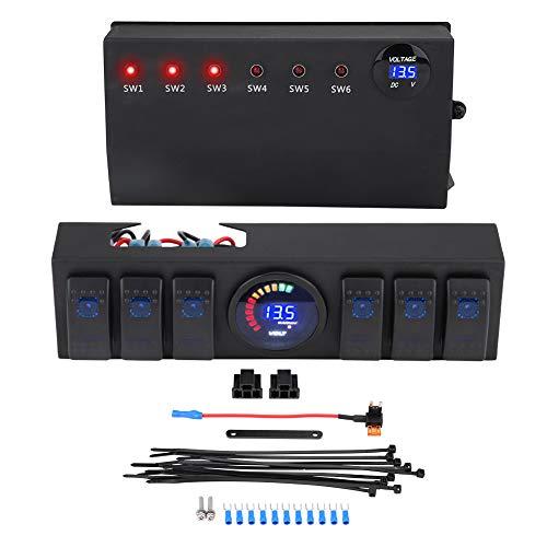 Aramox - Panel de conmutación con 6 soportes de control de panel basculante y fusible para Wrangler JK JKU 07-18