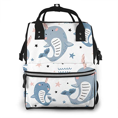UUwant Sac à Dos à Couches pour Maman Large Capacity Diaper Backpack Travel Manager Baby Care Replacement Bag Nappy Bags Mummy Backpack,(Cute Whale Has A Horn on His Head