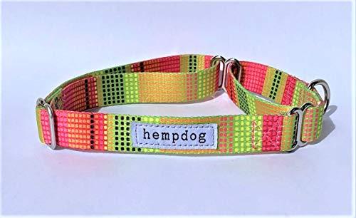 Hempdog Hundehalsband aus 100 % recyceltem Kunststoff (RPET), umweltfreundlich, ausbruchsicher, Martingal-Stil, Rosa / Gelb