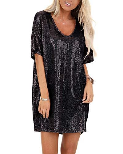 YOINS Vestido de noche sexy para mujer, vestido brillante, minivestido sexy, manga larga, cuello redondo, vestido de cóctel Negro XL