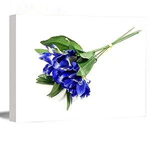 Silk Flower Arrangements Large Canvas Wall Art,Modern Art,Farmhouse Living Room Decor,Fake Blue Purple Iris Bouquet Flower Bouquet Artificial Fake Silk Flower Bouquet Wreath Millinery Flower,12''x18'' Framed Wall Art