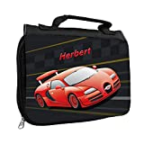Kulturbeutel mit Namen Herbert und Racing-Motiv mit rotem Auto für Jungen   Kulturtasche mit Vornamen   Waschtasche für Kinder