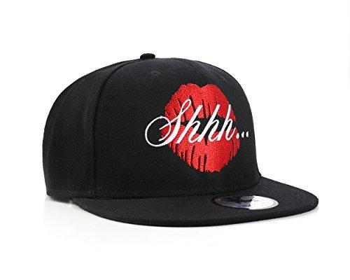 Shhh Kiss Noir Casquette Réglable (Black Snapback Cap)