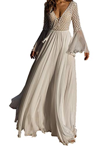 L-Peach Damen Spitze Chiffon V-Ausschnitt Langes Kleid Strandkleid Pareo Cover ups One Size