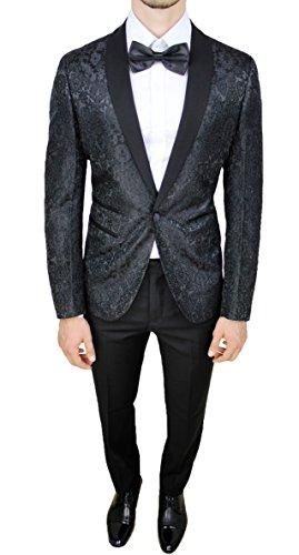 Abito Completo Uomo Sartoriale Nero Tessuto Raso Floreale Slim Fit Vestito Smoking Elegante (48)