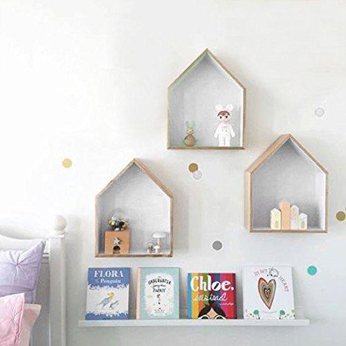 JUEYAN 3X Wandregal Hausform Regalbox Hausform Holzhaus-Regal Wand Hängende Box Kasten