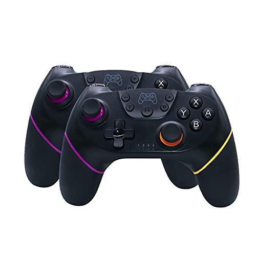 Sfqryp Gamepad inalámbrico de Gamepad Compatible con Bluetooth USB Controlador de Interruptor de Joystick (Color : 2pcs Black 4)