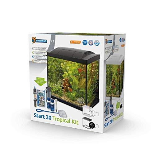 SuperFish SF Tropical Set 30 Aquarium weiß inkl. Filter, Heizer, Wasseraufbereiter, Kescher, Thermometer und Futter
