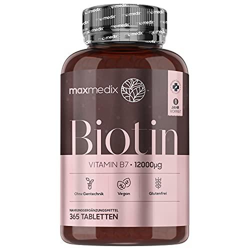 Biotin Tabletten - 12.000mcg Vitamin B7 für 1 Jahr Vorrat - 365 Tabletten für Haare, Haut und Nägel - Geprüfte Inhaltsstoffe & Vitamin Biotin Vegan - Haar Vitamine und Bartwuchs - Von MaxMedix