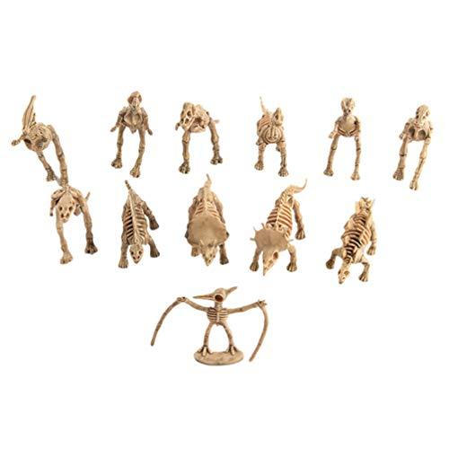 Garneck 12 Piezas Mini Modelo de Esqueleto Fósil de Dinosaurio Figuras de Dinosaurios Vívidos Dino Huesos Modelo de Dinosaurio Realista Ciencia Juego Decoración del Hogar