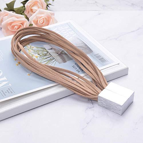 HNLHLY Home Office Decoratie eenvoudige magneet gordijnriemen met tien fluwelen touw gordijn gesp haken vrije installatie riem koord 1 paar 【khaki】