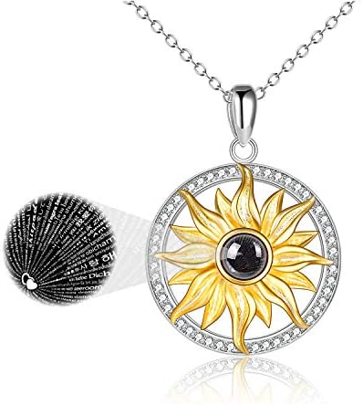 I Love You Necklace 100 Languages Sterling Silver Sunflower Necklace I Love You Gifts for Her product image