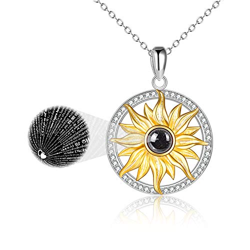 ONEFINITY I Love You Necklace 100 Languages for Women Sterling Silver Sunflower Love Pendant Crystal Love Memory Projection Necklaces for Girlfriend Wife Romantic Gifts for Her (Style A Sunflower)