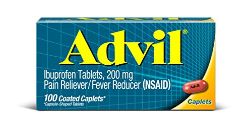 Advil Coated Tablets Pain Reliever and Fever Reducer, Ibuprofen 200mg, 100 Count
