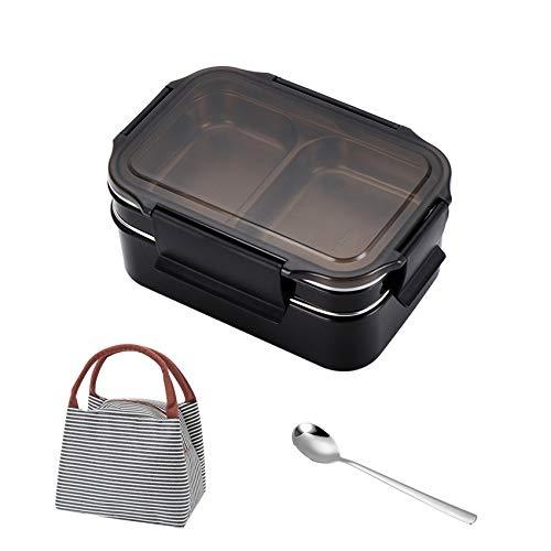 Fiambrera Bento Box de acero inoxidable con 2 compartimentos y asa, para niños y adultos