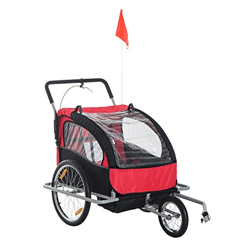 HOMCOM 2 in 1 Collapsible Bike Trailer 2-Seater Child Stroller for Bicycle Baby Jogger with Pivot Wheel (Black and Red)