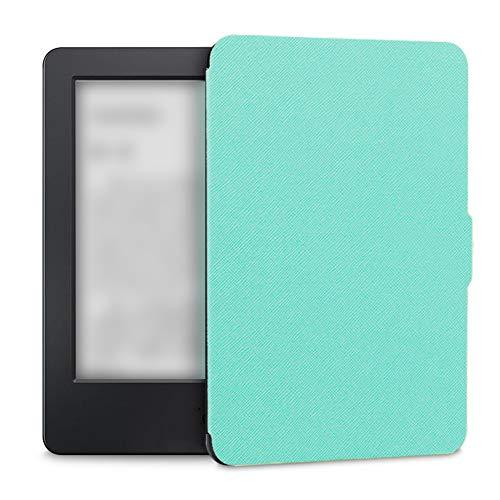 Funda cuero PU Funda protectora Lector pantalla simple Accesorios ultradelgados Sueño automático Cierre magnético 6 pulgadas A prueba polvo Sólido elegante para Kindle Paperwhite 1/2/3(Verde menta)