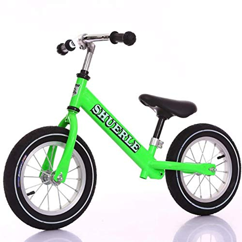WXX Sports de Plein air No Pédale Deux Tours Diapo Solde Voiture 12inches Siège réglable Convient pour Environ 2-6 Ans Les Enfants de vélos,Vert