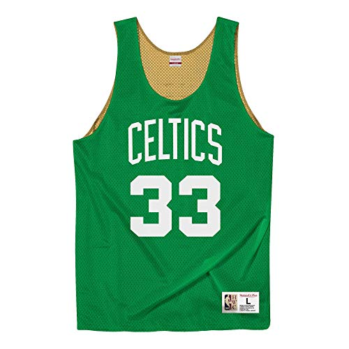 Mitchell & Ness Boston Celtics Larry Bird All Stars - Camiseta reversible de rejilla, color verde y dorado