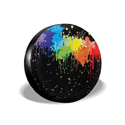 CUBIERTA DE LA RUEDA, Tire Cover Watercolor Rainbow Potable Polyester Universal Spare Wheel Tire Cover Wheel Covers for Trailer RV SUV Truck Camper Travel Trailer Accessories(14,15,16,17 Inch)