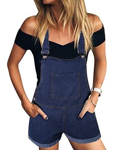 GUOCU Damen Einfarbig Kurze Jeanshose Hot Pants Frauen Denim Latzhose Freizeit Arbeitshosen Overall Jumpsuit 5 Farben Dunkelblau S