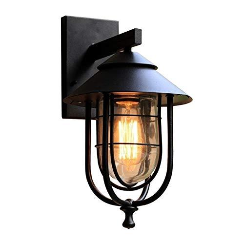 SJYDQ Lámparas de Pared Retro Vintage Apliques de Pared Negros de Hierro a Prueba de Lluvia Luces de Pared Interiores y Exteriores Porche Bar Jardín Sala de Estar Lámparas de Pasillo