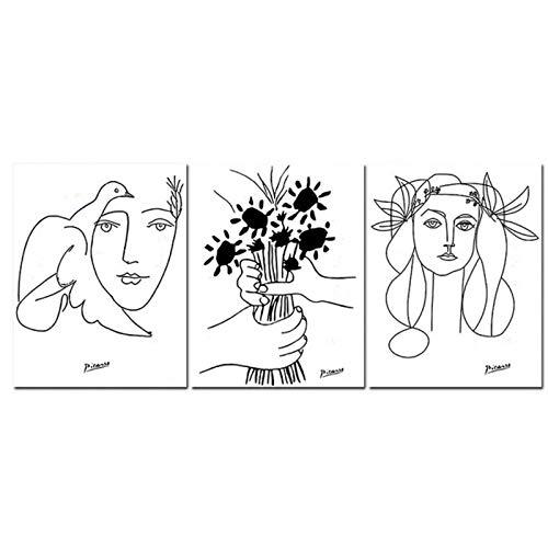 LLXHGPicasso Line Art Zeichnung Leinwand Kunstdrucke Skizzen Frau Blumenstrauß des Friedens Malerei Poster Minimalistische Wandkunst Home Wall Decor-50X70Cmx3 Kein Rahmen