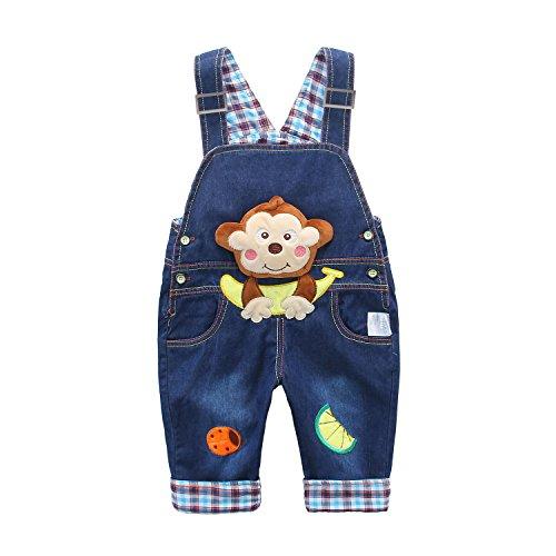 Bebé Niños Niñas Peto Vaquero Overalls Mono Largo Pantalón Elegante Azul con...