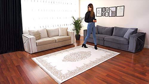 BESYILDIZ KALiTE HALI Designer Teppich Modern Wohnzimmer Esszimmer Schlafzimmer Bordüre Hochwertig Meliert Kurzflor bedruckter Retro Weiß-Braun