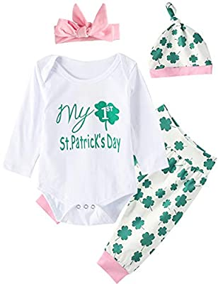 My First St. Patrick's Day Baby Girls Outfit Set Clover Romper (Green, 0-3 Months)