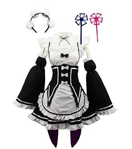 HalloweenCostumeParty Women Anime Cosplay Lolita Maid Dress with Headband Black White, Black With White, Medium
