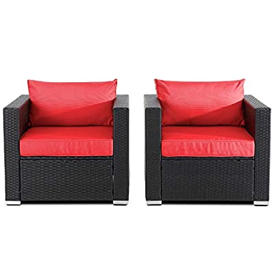 Shintenchi 2 PCS Patio Outdoor Wicker Armchair Sofa Chair Set, Patio Rattan Single Patio Seating w/Removable Cushions, Sectional Sofa Set Additional Seats for Balcony Patio Garden Poolside,Red