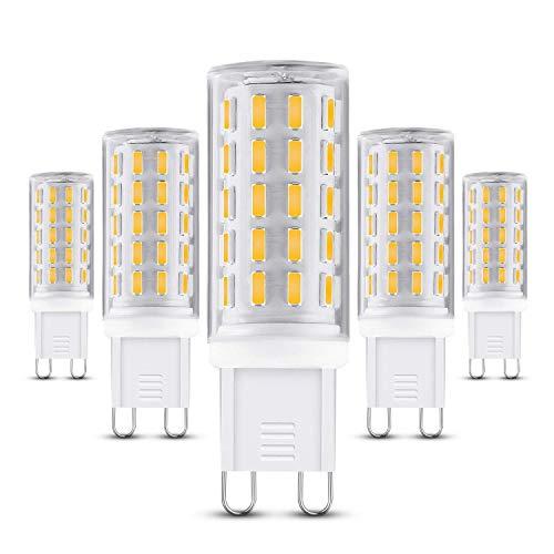 G9 LED Lampe,5er Pack 5W 400 Lumen, 3000k warmweiß Energiesparlampen und Kein Flackern G9 LED Leuchtmittel Ersatz 40W G9 Halogenlampe, 360° Abstrahlwinkel MEHRWEG [Energieklasse A++]
