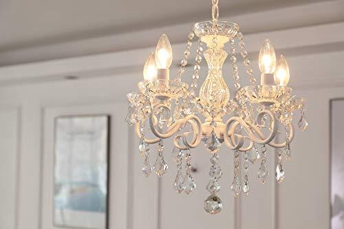 Saint Mossi Lustre En Cristal 5 Bras/Lumières E14 Pied De Lampe Peint Blanc