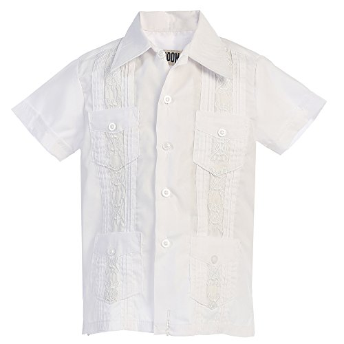 Platoon Kids Boys Guayabera Short Sleeve Cuban Shirt Wedding Beach - Toddlers & Juniors (4, White)