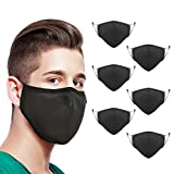 MADFLIGHT - Double Layers Breathable Safety Face Mask, Washable and Reusable, 100% Cotton Face Cover, Protection from Germs, Dust, and Pollen Pet Dander - US Standard Large Size - Black - Pack of 6
