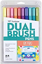 Tombow 56217 Dual Brush Pen Art Markers, Retro, 10-Pack. Blendable, Brush and Fine Tip Markers