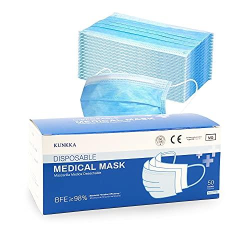 PACK 50 Mascarillas Quirurgicas Homologadas Desechables Tipo IIR con 3 Capas de Tejido no Tejido BFE ≥ 98% Directiva 93/42/CEE Clase 1. Mascarilla quirurgicas certificada/homologada (Azul) …