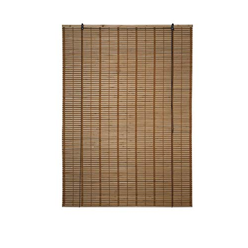 ALEKO BBL46X64BR Light Brown Bamboo Roman Wooden Indoor Roll Up Window Blinds Light Filtering Shades Privacy Drape 46 X 64 Inches