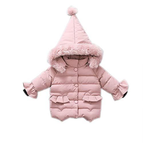 Natashas Winter Mantel Winterjacke Mädchen Anorak Mantel Neugeborenes kleikind Baby Oberbekleidung verdickte mit spitzer Kapuze Pelzkragen Steppjacke warm Winddicht (Rosa, 80-90cm)