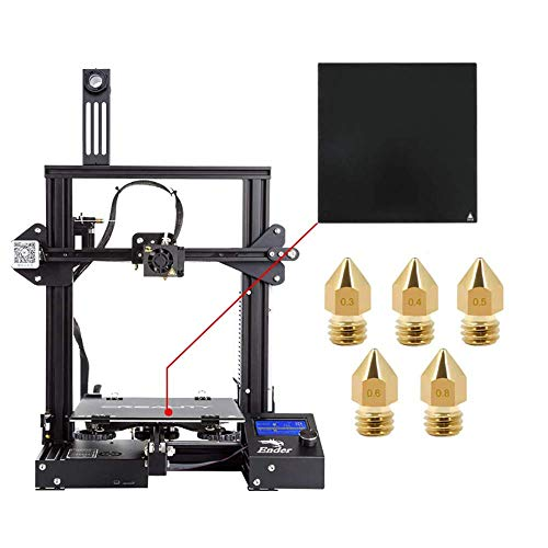 Official Creality Ender 3 3D Printer with Tempered Glass Plate and Five Nozzles Build Volume 220x220x250mm