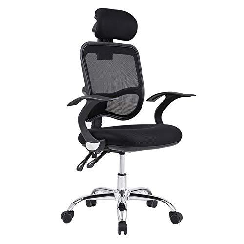 HMBB Sillas de escritorio, ergonómicas de oficina, respaldo alto, silla de oficina, silla de oficina con reposacabezas ajustable (color negro)