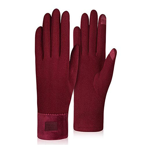 YUNGE Women's Autumn and Winter Warm Touch Screen Gloves, Women's Outdoor Non-Fleece Riding Gloves, Windproof and Velvet Gloves for Driving,Wine Red