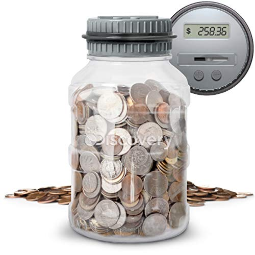 DISCOVERY KIDS Digital Coin-Counting Money Jar with LCD Screen, Keeps Track of Balance, Twist Off Lid, US Currency, Battery Operated (Gray)