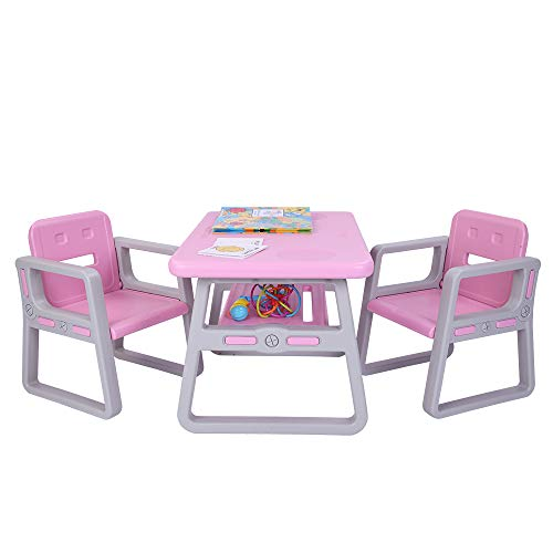 Kids Table and Chairs Set - 3 in 1 Kids Table & 2 Chair Set,Children Studying Activity Desk Sets with Storage Drawer Removable Tabletop for Toddlers Lego, Reading, Train, Art Play-Room (Pink)