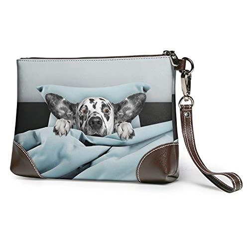 Yaxinduobao Lindo cachorro de perro ojos sorprendidos en la cama bolso de mano con estampado azul bolso de mano de cuero desmontable bolso de mano para mujer